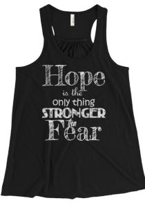Hope is the only thing Stronger than Fear – Women's Flowy Racerback Tank